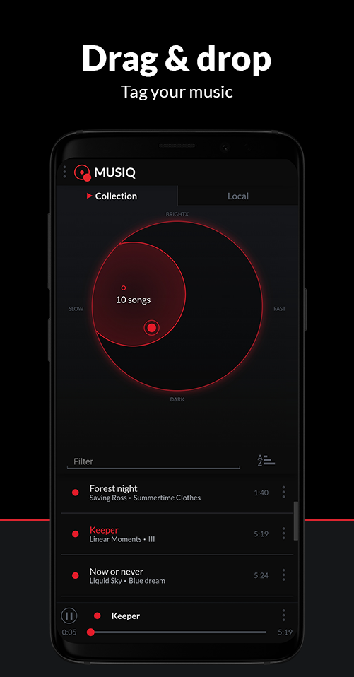 MUSIC application drag and drop feature